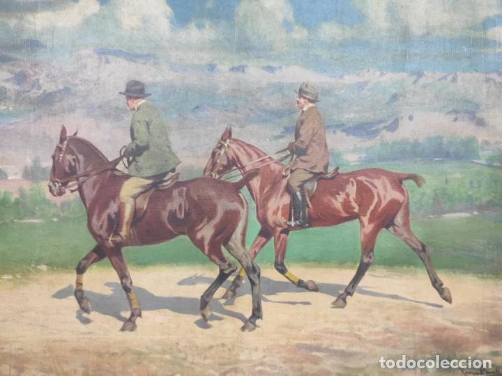 "Arte: ""Escena ecuestre"" óleo sobre lienzo- Ramon Borrell Pla ( 1876-1973) - Foto 2 - 277038083"