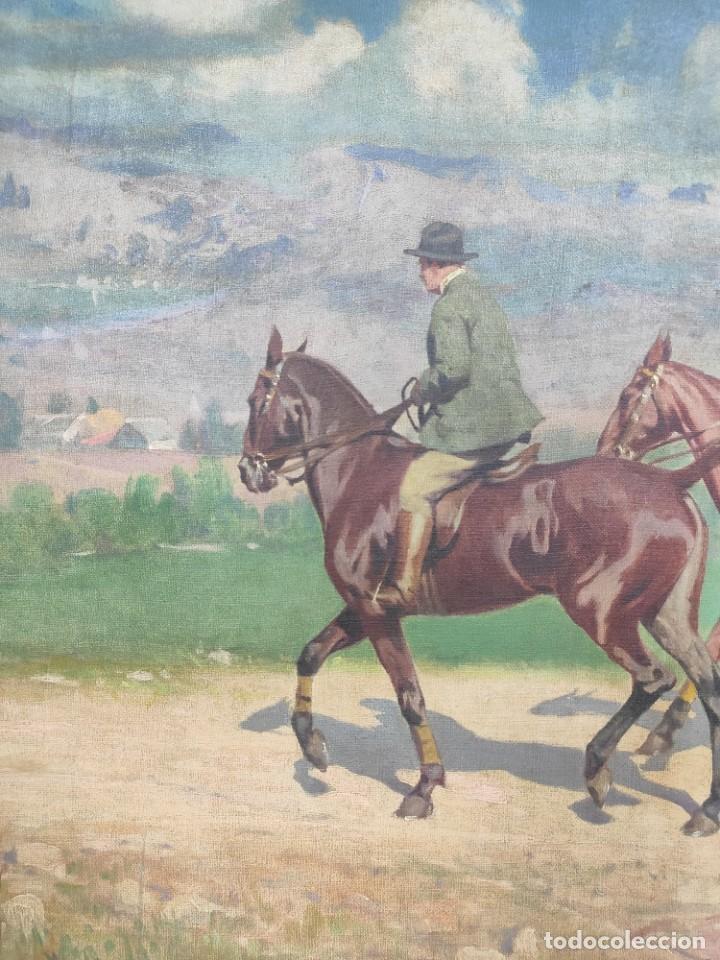 "Arte: ""Escena ecuestre"" óleo sobre lienzo- Ramon Borrell Pla ( 1876-1973) - Foto 3 - 277038083"