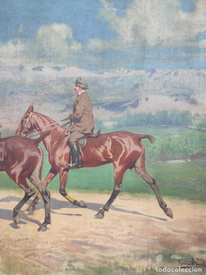 "Arte: ""Escena ecuestre"" óleo sobre lienzo- Ramon Borrell Pla ( 1876-1973) - Foto 4 - 277038083"