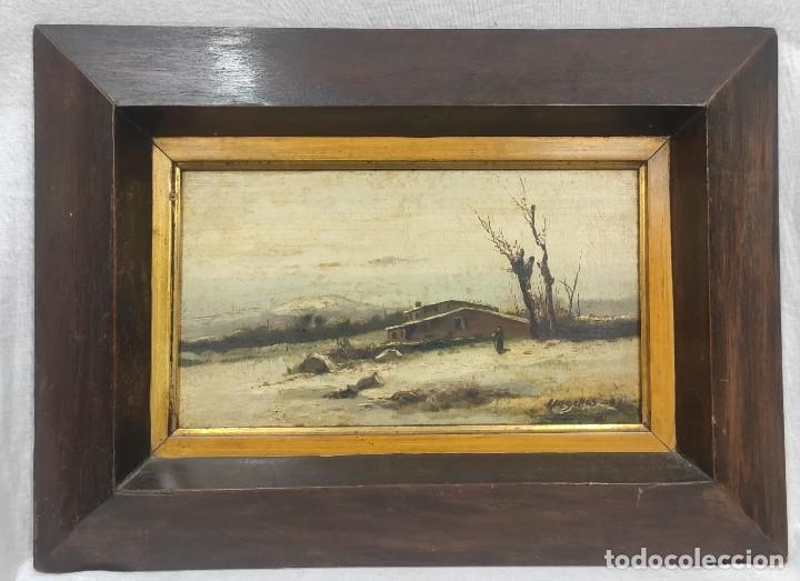 """""""PAISAJE NEVADO"""" DE FÉLIX URGELLÉS TOVAR (1845-1919), ÓLEO SOBRE TABLE DE 1898. (Arte - Pintura - Pintura al Óleo Moderna siglo XIX)"""