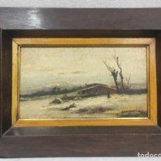 "Arte: ""PAISAJE NEVADO"" DE FÉLIX URGELLÉS TOVAR (1845-1919), ÓLEO SOBRE TABLE DE 1898.. Lote 277043298"