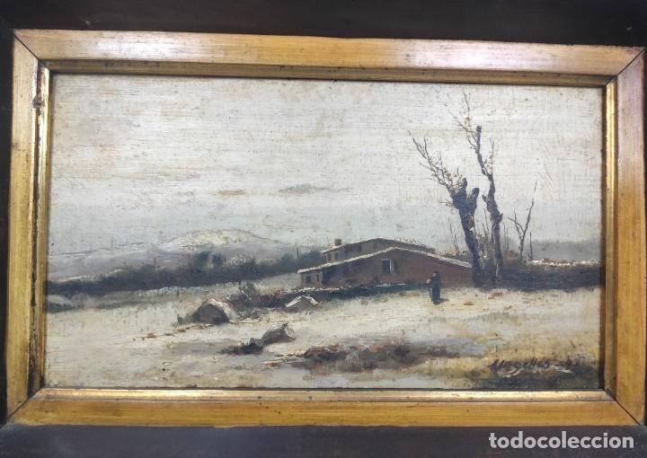 "Arte: ""Paisaje nevado"" de Félix Urgellés Tovar (1845-1919), óleo sobre table de 1898. - Foto 2 - 277043298"