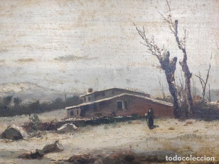 "Arte: ""Paisaje nevado"" de Félix Urgellés Tovar (1845-1919), óleo sobre table de 1898. - Foto 3 - 277043298"