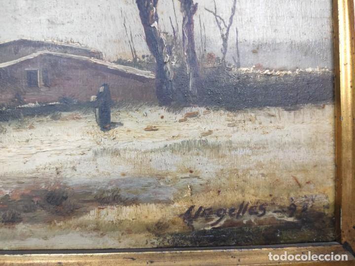 "Arte: ""Paisaje nevado"" de Félix Urgellés Tovar (1845-1919), óleo sobre table de 1898. - Foto 5 - 277043298"