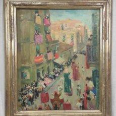 """Arte: """"CORPUS GRACIA"""" DE OLEGUER JUNYENT SANS (1876-1956) DE 1947. ÓLEO SOBRE TELA.. Lote 277044443"""