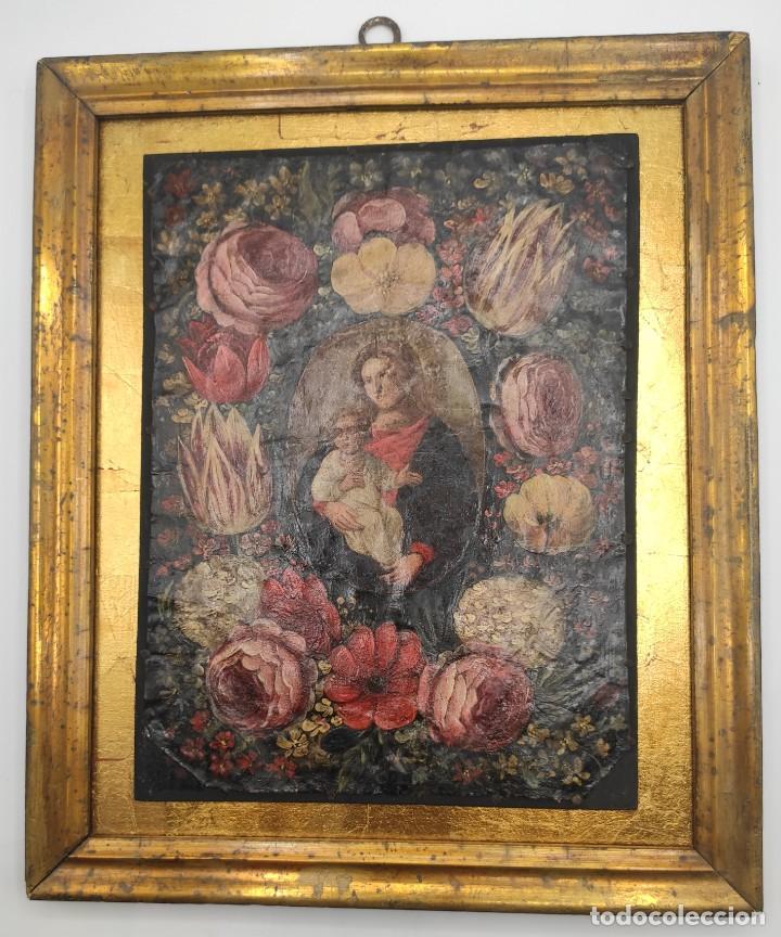 """""""VIRGEN CON EL NIÑO ENTRE FLORES"""", ÓLEO SOBRE COBRE, PROBABLEMENTE DEL SIGLO XVII. (Arte - Pintura - Pintura al Óleo Antigua siglo XVII)"""