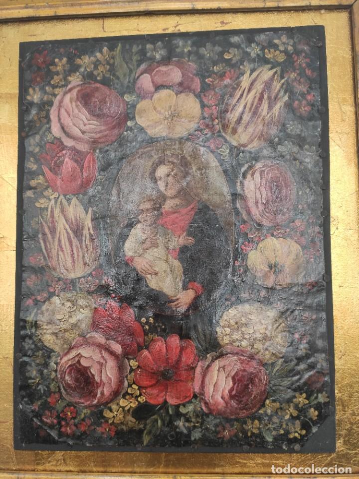"""Arte: """"Virgen con el niño entre flores"""", óleo sobre cobre, probablemente del siglo XVII. - Foto 2 - 277046973"""