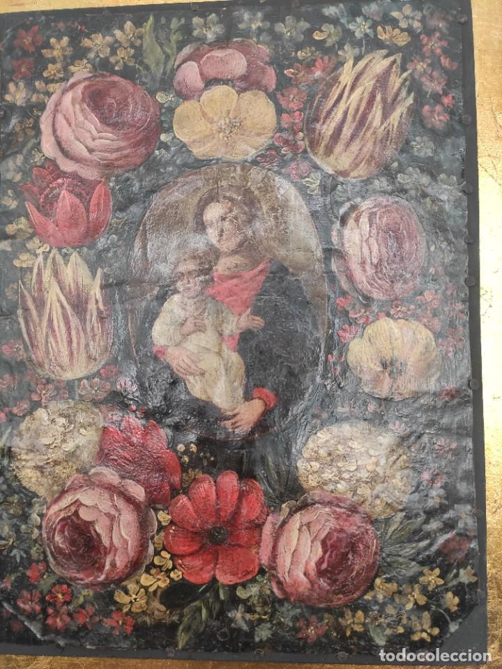 """Arte: """"Virgen con el niño entre flores"""", óleo sobre cobre, probablemente del siglo XVII. - Foto 3 - 277046973"""