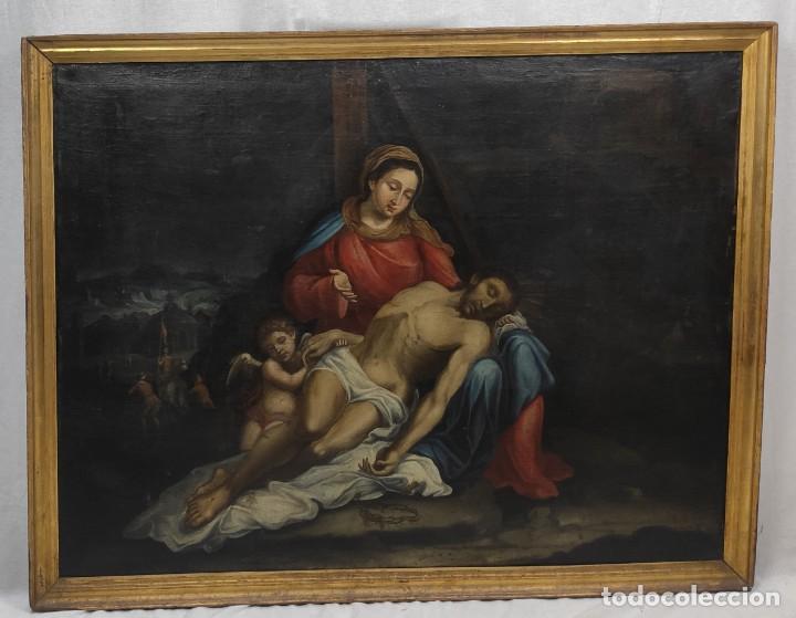 """""""PIEDAD"""", ESCUELA ITALIANA, DE FINALES DEL SIGLO XVII- PRINCIPIOS DEL SIGLO XVII. ÓLEO SOBRE LIENZO. (Arte - Pintura - Pintura al Óleo Antigua siglo XVII)"""