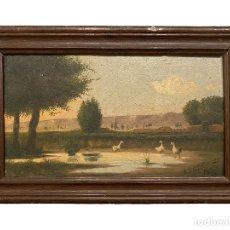 Arte: ANTIGUO ÓLEO SOBRE TABLA,PAISAJE, ESTANQUE Y PATOS, FIRMADO POR M. PORTELLA Y DEDICADO, 1907. Lote 275479283