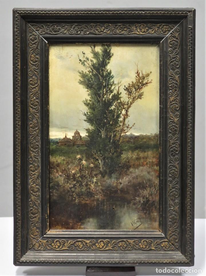 VISTA DE ERMITA. OLEO S/ TABLA. JOSE VILAR Y TORRES (1828 - 1904) (Arte - Pintura - Pintura al Óleo Moderna siglo XIX)