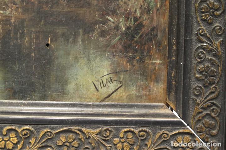 Arte: VISTA DE ERMITA. OLEO S/ TABLA. JOSE VILAR Y TORRES (1828 - 1904) - Foto 3 - 277191658