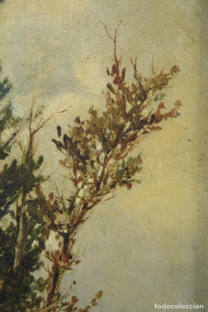 Arte: VISTA DE ERMITA. OLEO S/ TABLA. JOSE VILAR Y TORRES (1828 - 1904) - Foto 5 - 277191658