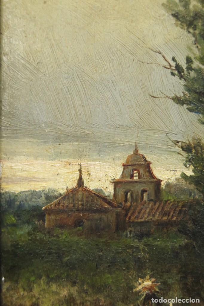 Arte: VISTA DE ERMITA. OLEO S/ TABLA. JOSE VILAR Y TORRES (1828 - 1904) - Foto 6 - 277191658