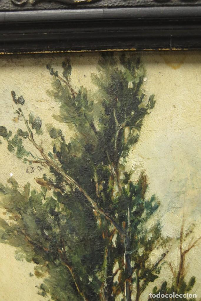 Arte: VISTA DE ERMITA. OLEO S/ TABLA. JOSE VILAR Y TORRES (1828 - 1904) - Foto 7 - 277191658