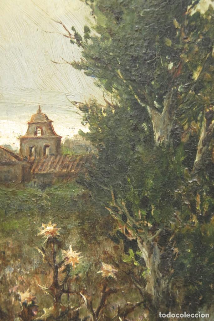 Arte: VISTA DE ERMITA. OLEO S/ TABLA. JOSE VILAR Y TORRES (1828 - 1904) - Foto 8 - 277191658