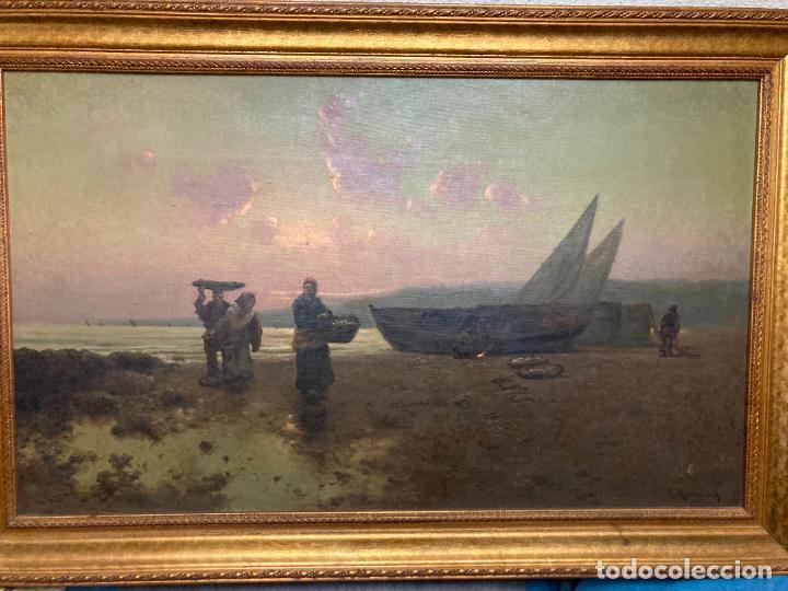 PESCADORAS CON CESTAS Y BARCAS, POR R RAMÍREZ (Arte - Pintura - Pintura al Óleo Moderna siglo XIX)
