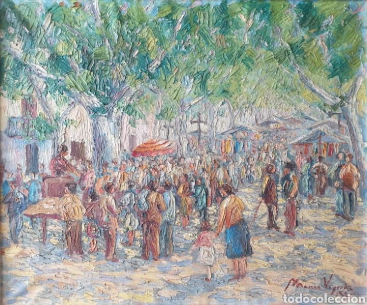 Arte: Marià Vayreda Canadell (XX) - Escenas de Mercado.Oleo/Tela.Firmado.1950. - Foto 2 - 277526303