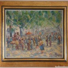 Arte: MARIÀ VAYREDA CANADELL (XX) - ESCENAS DE MERCADO.OLEO/TELA.FIRMADO.1950.. Lote 277526303