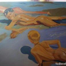 Arte: OLEO SOBRE LIENZO REPRODUCCION NIÑOS EN LA PLAYA SOROLLA. Lote 277622888