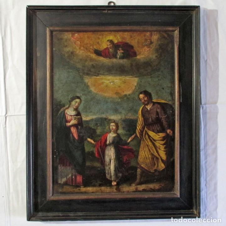 ÓLEO SOBRE PLANCHA DE COBRE SAGRADA FAMILIA CON ESPIRITU SANTO, SIGLO XVIII-XIX (Arte - Pintura - Pintura al Óleo Antigua sin fecha definida)
