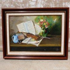 Arte: ANTIGUO CUADRO OLEO SOBRE LIENZO, TIPO BODEGON FIRMADO JOSE DOLZ , 83X64 CM. Lote 277723323