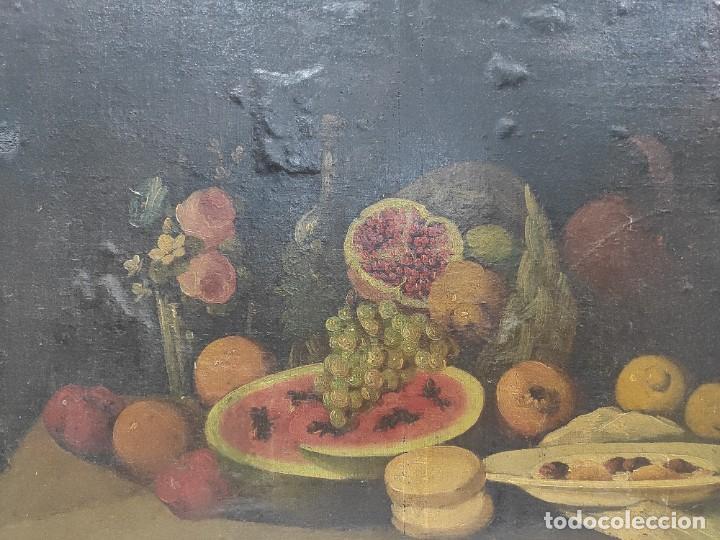 """Arte: """"Bodegón"""" escuela española, de principios del siglo XIX. Óleo sobre lienzo. Sin firmar. - Foto 2 - 277726533"""