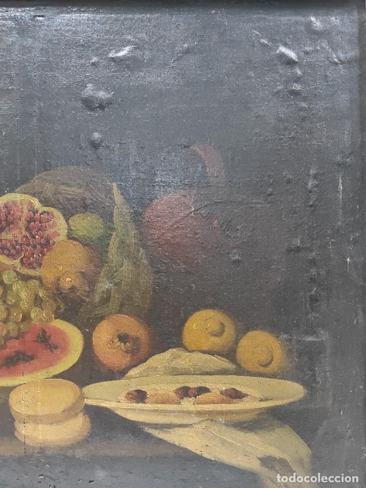 """Arte: """"Bodegón"""" escuela española, de principios del siglo XIX. Óleo sobre lienzo. Sin firmar. - Foto 3 - 277726533"""