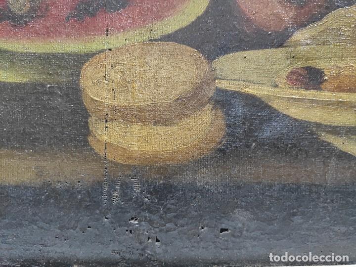 """Arte: """"Bodegón"""" escuela española, de principios del siglo XIX. Óleo sobre lienzo. Sin firmar. - Foto 6 - 277726533"""