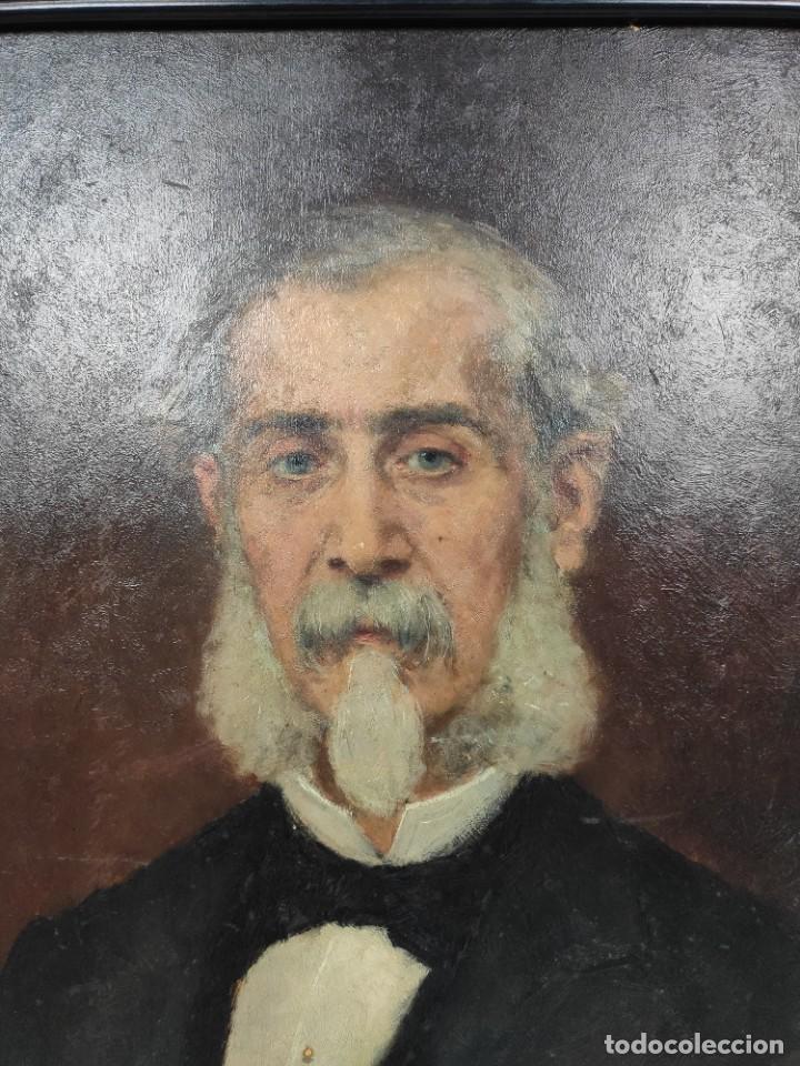 Arte: Retrato de Isidro Muntadas de Francesc Miralles Galaup (1848-1901), del siglo XIX. Óleo sobre tabla. - Foto 2 - 277727228
