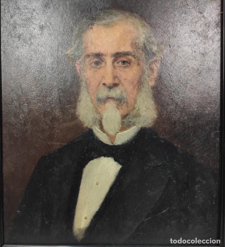 Arte: Retrato de Isidro Muntadas de Francesc Miralles Galaup (1848-1901), del siglo XIX. Óleo sobre tabla. - Foto 3 - 277727228