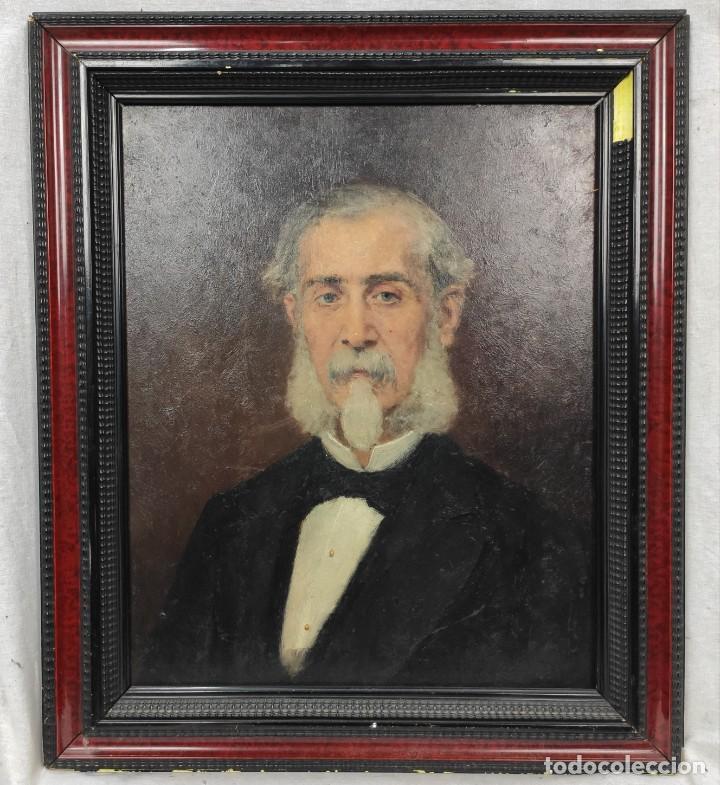 Arte: Retrato de Isidro Muntadas de Francesc Miralles Galaup (1848-1901), del siglo XIX. Óleo sobre tabla. - Foto 4 - 277727228