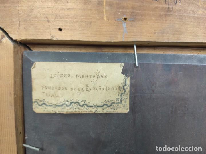 Arte: Retrato de Isidro Muntadas de Francesc Miralles Galaup (1848-1901), del siglo XIX. Óleo sobre tabla. - Foto 6 - 277727228