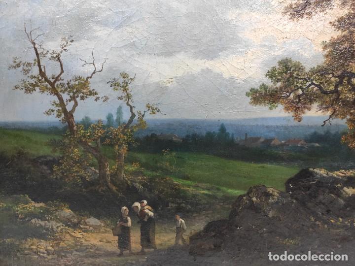 "Arte: ""Paisaje"", óleo sobre lienzo, de finales del siglo XIX- principios del siglo XX. Sin firmar. - Foto 2 - 277727493"