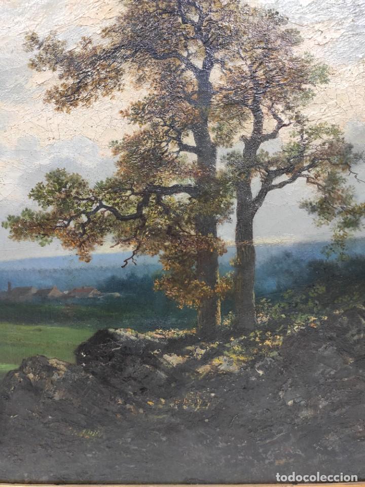 "Arte: ""Paisaje"", óleo sobre lienzo, de finales del siglo XIX- principios del siglo XX. Sin firmar. - Foto 3 - 277727493"