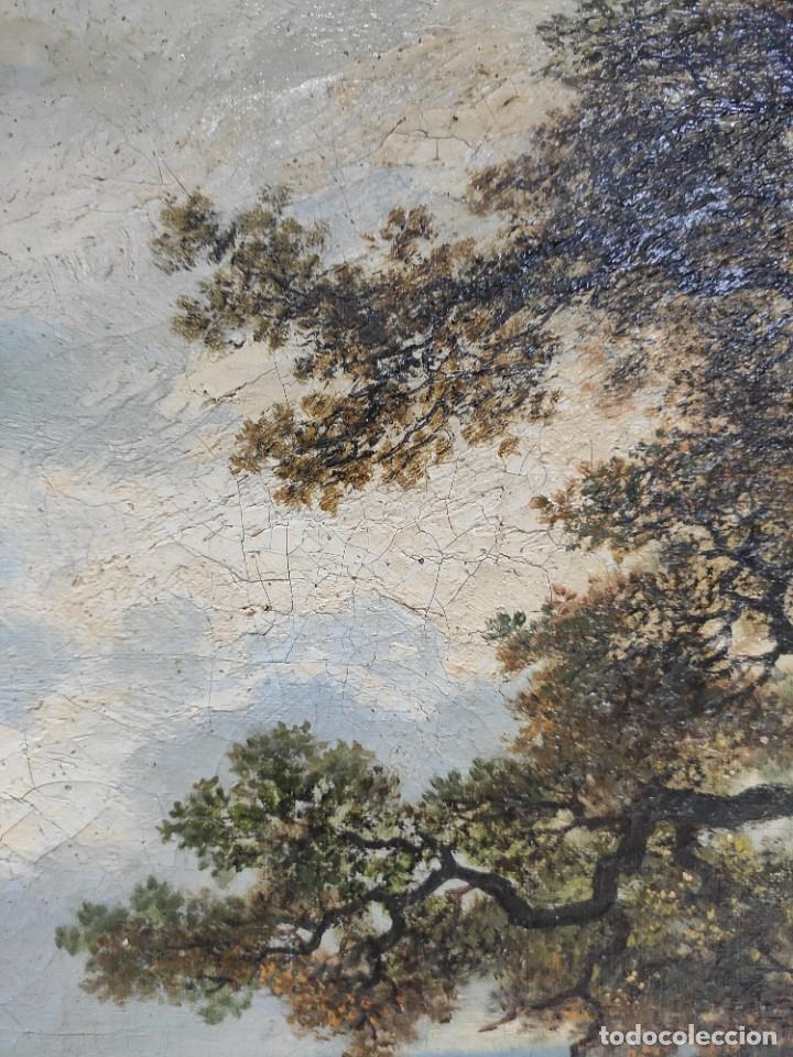 "Arte: ""Paisaje"", óleo sobre lienzo, de finales del siglo XIX- principios del siglo XX. Sin firmar. - Foto 4 - 277727493"