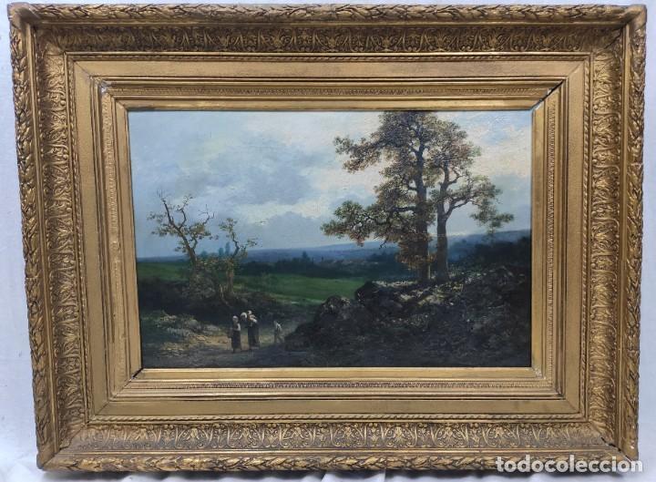 "Arte: ""Paisaje"", óleo sobre lienzo, de finales del siglo XIX- principios del siglo XX. Sin firmar. - Foto 6 - 277727493"