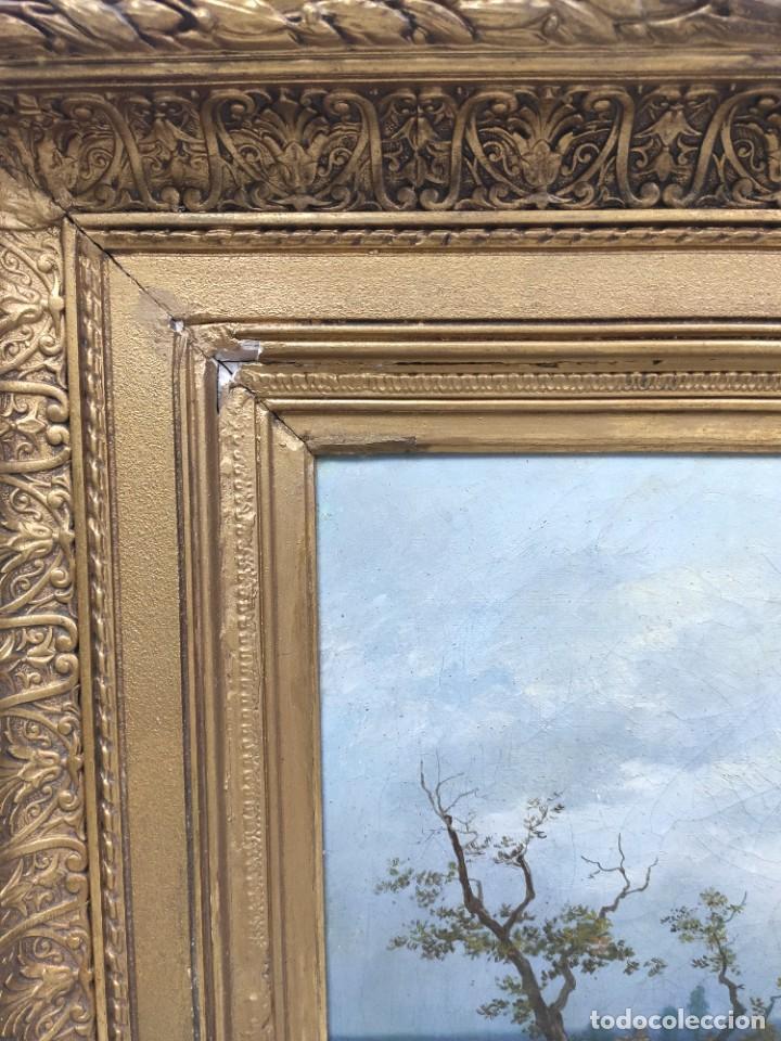 "Arte: ""Paisaje"", óleo sobre lienzo, de finales del siglo XIX- principios del siglo XX. Sin firmar. - Foto 7 - 277727493"
