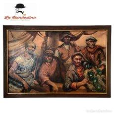 Arte: IMPONENTE OLEO SOBRE LIENZO ENMARCADO. MARINEROS AVISTANDO LA COSTA. FIRMADO. ESPANTALEÓN. SIGLO XX.. Lote 277749238