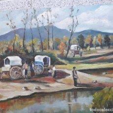 Arte: CUADRO DE UN PAISAJE CARAVANA DE GITANOS (OLEO ). Lote 278196828