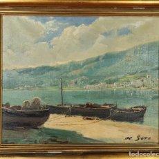 Arte: PORT DE LA SELVA. RAFAEL FERNANDEZ DE SOTO. ÓLEO SOBRE LIENZO. 1959.. Lote 278318033