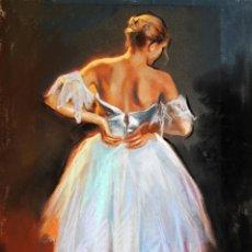 Arte: DOMINGO ALVAREZ BARCELONA 1942 PASTEL BAILARINA DE ESPALDAS.. Lote 278448543