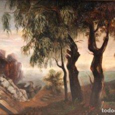 Arte: ESCUELA ESPAÑOLA DE FINALES DEL SIGLO XIX. OLEO SOBRE TABLA. PAISAJE. Lote 278454058