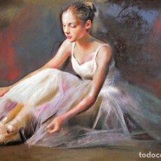 Arte: DOMINGO ALVAREZ BARCELONA 1942 PASTEL BAILARINA SENTADA. Lote 278551068