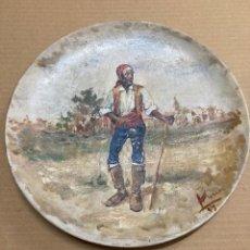 Arte: PLATO CON VALENCIANO, FIRMADO POR ALCÓN EN 1899. Lote 278758398