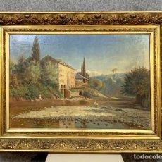 Arte: ÉCOLE LYONNAISE VERS 1900: TRÈS TRÈS GRAND TABLEAU FIGURANT UN PAYSAGE DE L'AIN. Lote 278968718