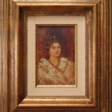 Arte: AGUSTÍN SALINAS Y TERUEL (ZARAGOZA 1861-ROMA 1915). RETRATO DE L. VALEAU 1901. Ó/T. MED: 19 X 12 CM.. Lote 279329748
