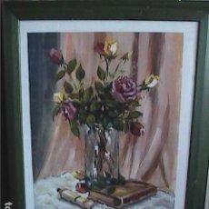 Arte: EXCELENTE ÓLEO. BODEGÓN. FIRMADO PARADELL. JARRÓN CON ROSAS, LIBRO Y TUBO DE PINTURA.. Lote 279370523