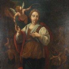 Arte: ÓLEO SOBRE LIENZO SANTA CATALINA DE ALEJANDRÍA CORONADA POR UN ÁNGEL ESCUELA ITALIANA SIGLO XVII. Lote 280414118