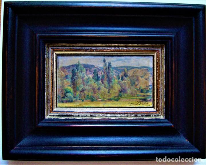PAISAJE RIBERA DEL EBRO PINTURA SOBRE TABLA.AÑO 1950. (Arte - Pintura - Pintura al Óleo Moderna sin fecha definida)
